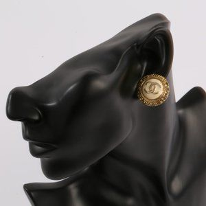 CHANEL Gold CC Logo Disc Twist Edge Clip Earrings